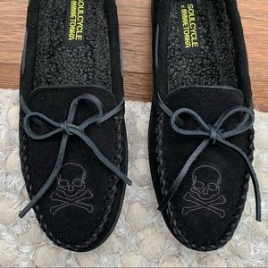 NWT Skull Suede Minnetonka X SoulCycle Moccasins